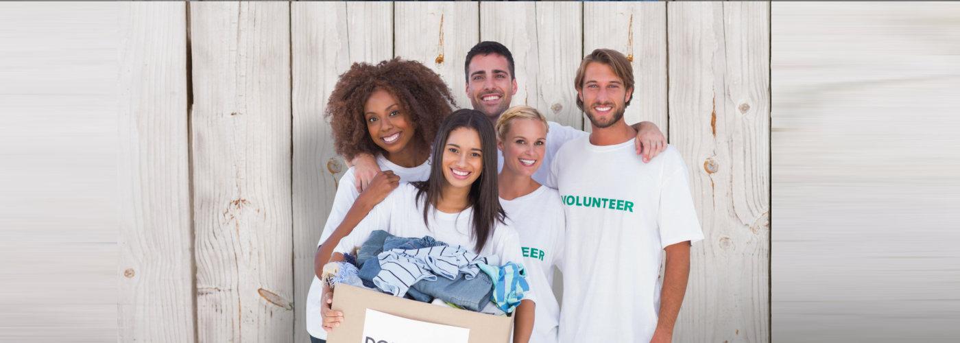 group of volunteers smiling