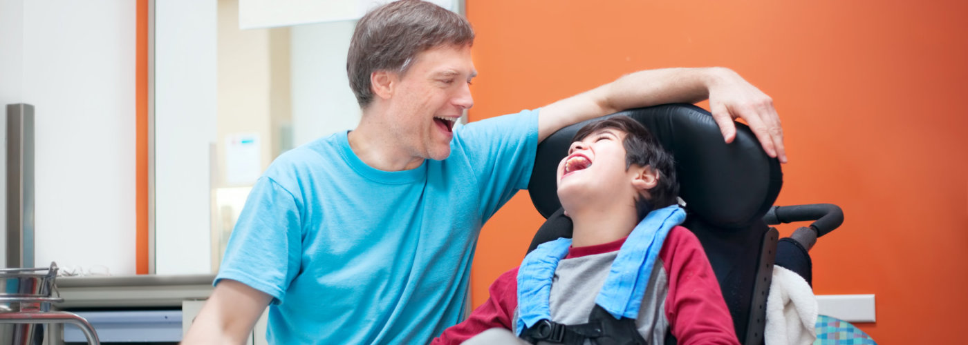 caregiver talking to a child