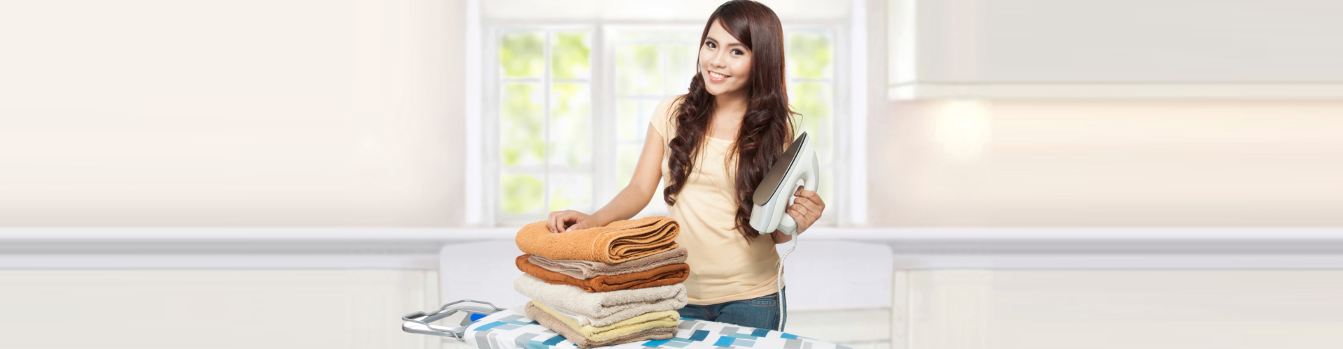 woman doing household chores