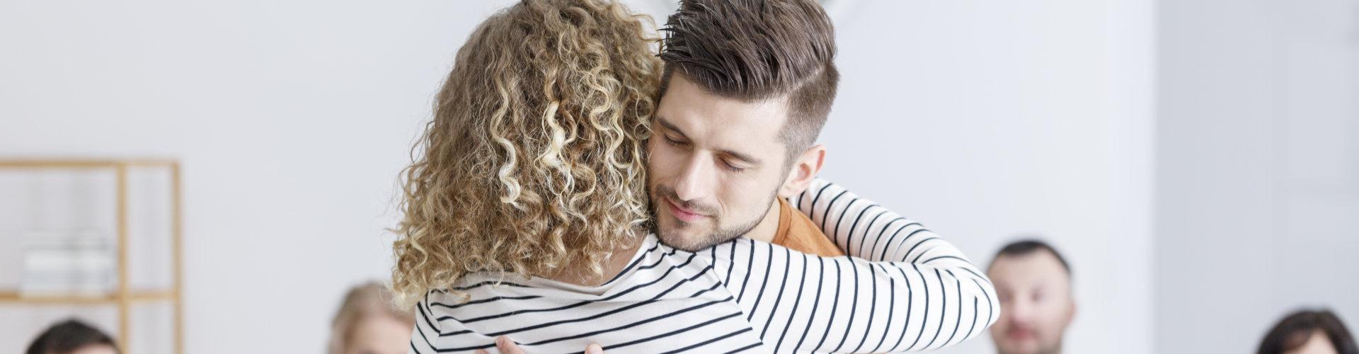 man hugging